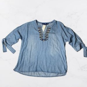 Blue Rain Embroidered Top Womens Size Small